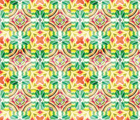 Flowery Incan Mosaics In Watercolors 9 fabric by animotaxis on Spoonflower - custom fabric