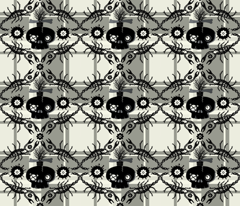 zombie skull plaid fabric by paragonstudios on Spoonflower - custom fabric