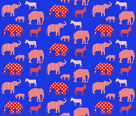 Donkeys and elephants red and white on blue. fabric by graphicdoodles on Spoonflower - custom fabric