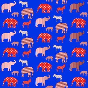 Donkeys and elephants red and white on blue.