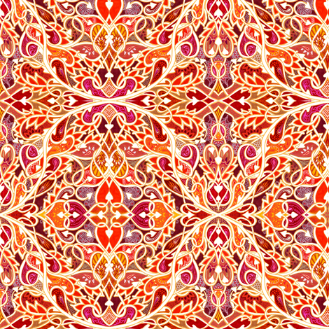 Tangled Tango of Love (orange flame) fabric by edsel2084 on Spoonflower - custom fabric