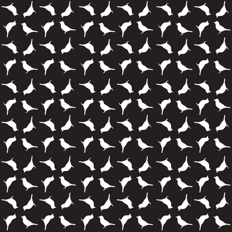 White birds on black fabric by carrie_narducci on Spoonflower - custom fabric