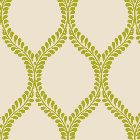 Chartreuse Regal Leaves fabric by horn&ivory on Spoonflower - custom fabric