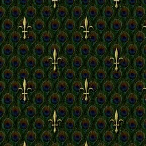 large fleur de lis on peacock feathers