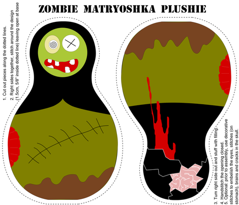Zombie Matryoshka Plushie fabric by eeniemeenie on Spoonflower - custom fabric