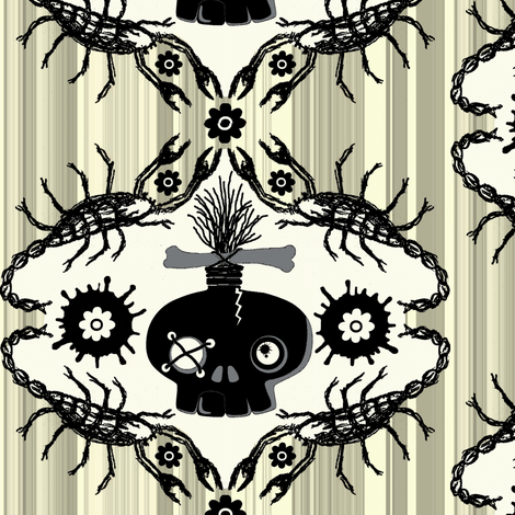 ink blot  zombie skull / stripe fabric by paragonstudios on Spoonflower - custom fabric