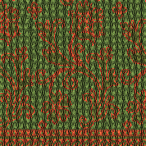 Elizabethan Knit, c. 1625-1650 - Green / Salmon fabric by bonnie_phantasm on Spoonflower - custom fabric