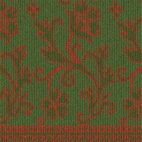 Elizabethan Knit, c. 1625-1650 - Green / Salmon