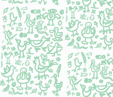 birdies teal fabric by galena22 on Spoonflower - custom fabric