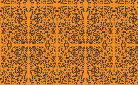 Birdies mirror orange fabric by galena22 on Spoonflower - custom fabric