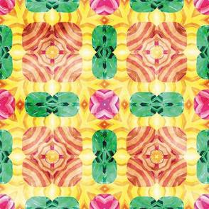 Flowery Incan Mosaics In Watercolors 13