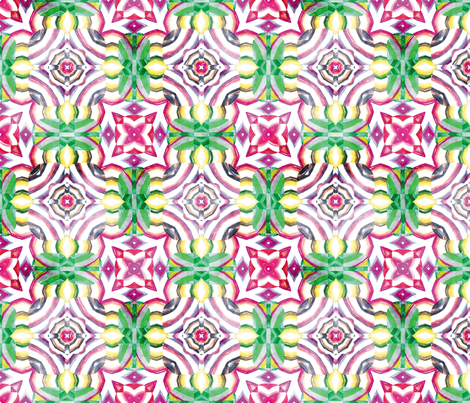 Flowery Incan Mosaics In Watercolors 14 fabric by animotaxis on Spoonflower - custom fabric