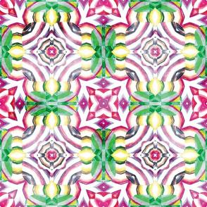 Flowery Incan Mosaics In Watercolors 14