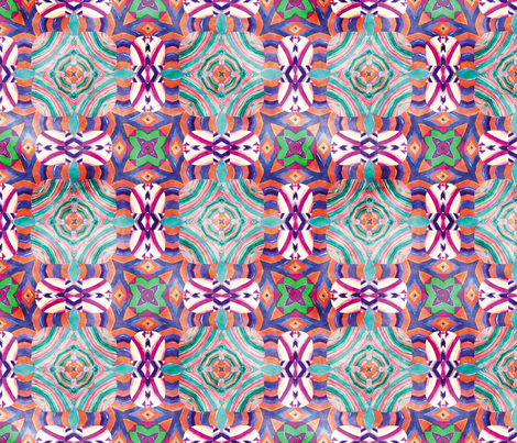 Flowery Incan Mosaics In Watercolors 15 fabric by animotaxis on Spoonflower - custom fabric