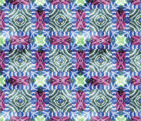 Flowery Incan Mosaics In Watercolors 16 fabric by animotaxis on Spoonflower - custom fabric