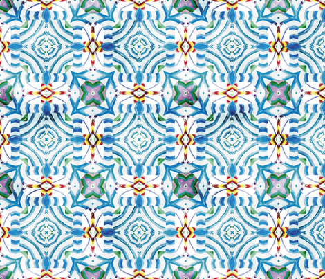 Flowery Incan Mosaics In Watercolors 17 fabric by animotaxis on Spoonflower - custom fabric