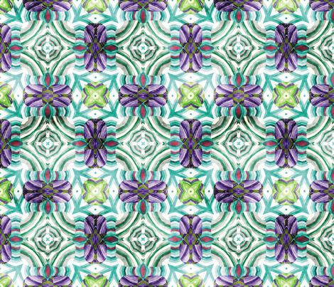 Flowery Incan Mosaics In Watercolors 19 fabric by animotaxis on Spoonflower - custom fabric