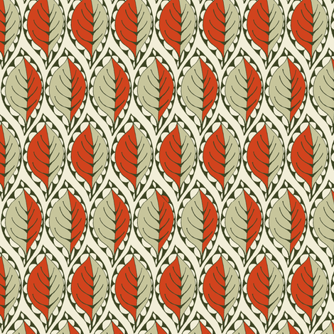 Beady Leaf (Nutmeg & Paprika) fabric by wednesdaysgirl on Spoonflower - custom fabric