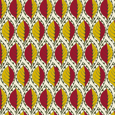 Beady Leaf (Plum & Mustard) fabric by wednesdaysgirl on Spoonflower - custom fabric