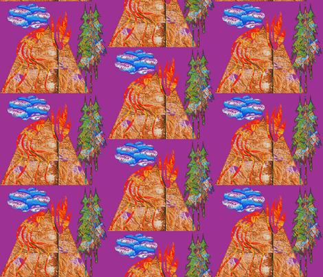 Volcano in Half Drop Repeat fabric by anniedeb on Spoonflower - custom fabric