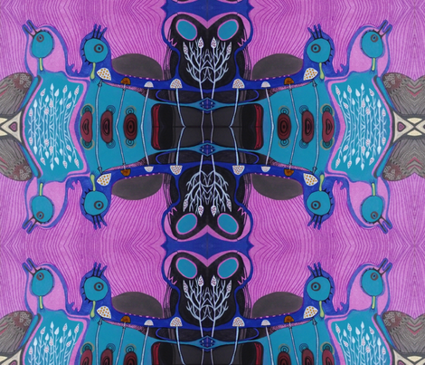 psychedelic birds fabric by highland_fairy on Spoonflower - custom fabric