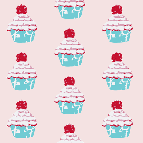A Cupcake with a cherry on top fabric by karenharveycox on Spoonflower - custom fabric