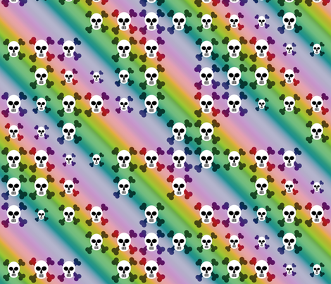 Rainbow of skulls fabric by bonnie_phantasm on Spoonflower - custom fabric