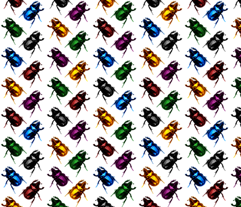 Jewel & Black Beetles fabric by pond_ripple on Spoonflower - custom fabric