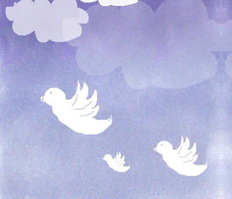 nuage_ciel_oiseaux fabric by aurelierk on Spoonflower - custom fabric