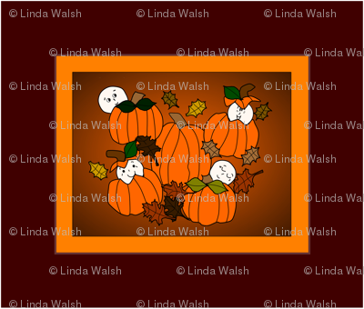 Babies In The Pumpkin Patch Large Wall Art Fabric