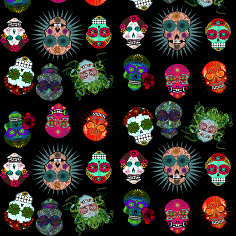 sugar skulls fabric by boneyfied on Spoonflower - custom fabric