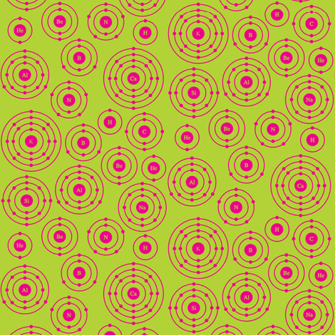 Periodic Shells (Lime Green and Hot Pink Ditsy) fabric by robyriker on Spoonflower - custom fabric