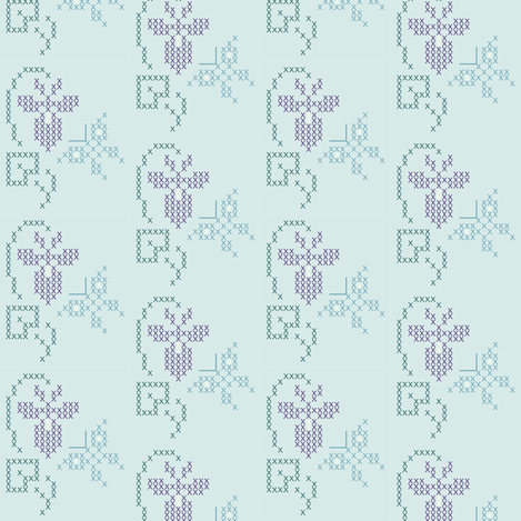 Cross-stitch embroidery pattern - sm border - violet & butterfly fabric by mina on Spoonflower - custom fabric