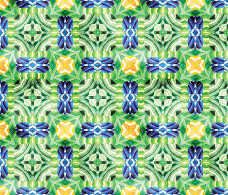 Flowery Incan Mosaics In watercolors 22 fabric by animotaxis on Spoonflower - custom fabric