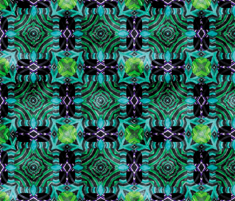 Flowery Incan Mosaics In Watercolors 23 fabric by animotaxis on Spoonflower - custom fabric
