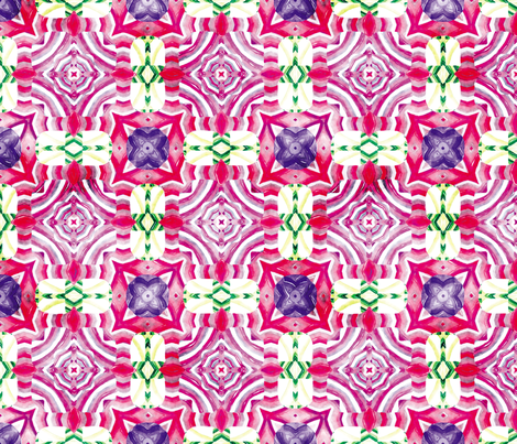 Flowery Incan Mosaics In Watercolors 24 fabric by animotaxis on Spoonflower - custom fabric