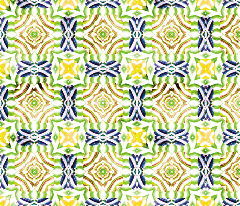 Flowery Incan Mosaics In Watercolors 25 fabric by animotaxis on Spoonflower - custom fabric
