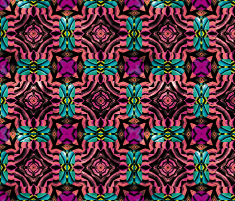 Flowery Incan Mosaics In Watercolors 26 fabric by animotaxis on Spoonflower - custom fabric