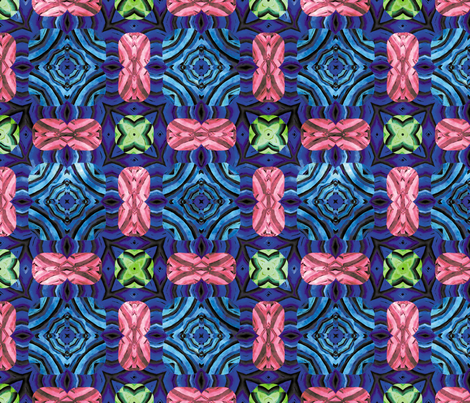 Flowery Incan Mosaics In Watercolors 27 fabric by animotaxis on Spoonflower - custom fabric