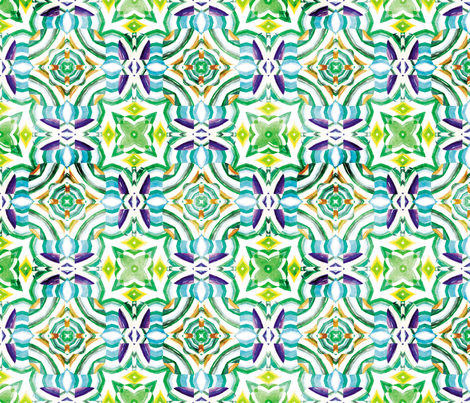 Flowery Incan Mosaics In Watercolors 28 fabric by animotaxis on Spoonflower - custom fabric
