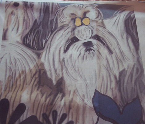 Shih Tzu Garden Flag with Flowers