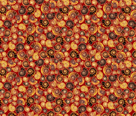 Ammonite Mosaic in Burgundy fabric by veramarie2 on Spoonflower - custom fabric