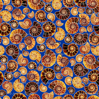 Ammonite Mosaic in Blue