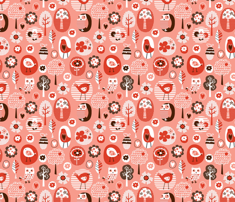 tweety chirp hoot pink 01 fabric by amel24 on Spoonflower - custom fabric