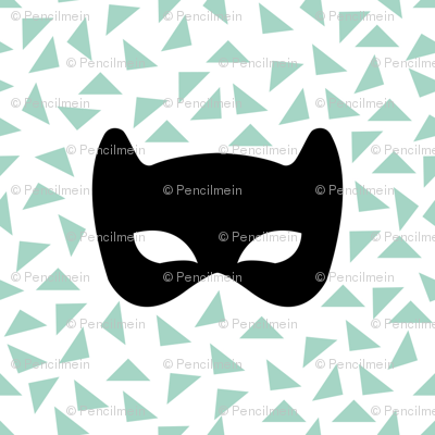Black white and mint mask
