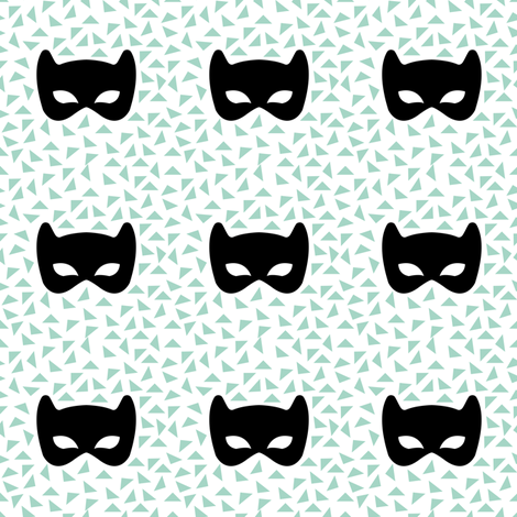 Black white and mint mask fabric by pencilmein on Spoonflower - custom fabric