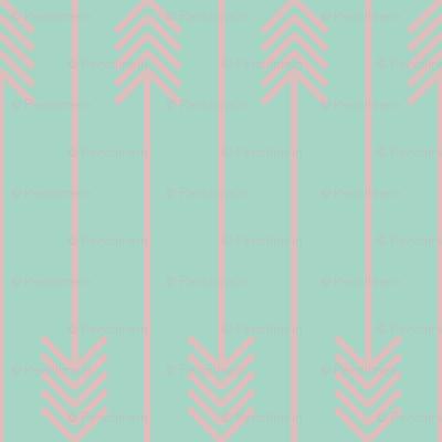 baby pink arrows flip flop on mint