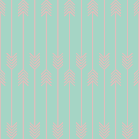 baby pink arrows flip flop on mint fabric by pencilmein on Spoonflower - custom fabric