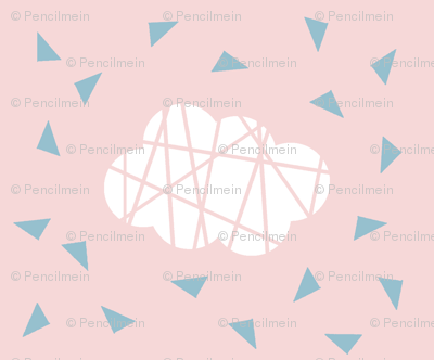 white clouds on pink with blue triangles
