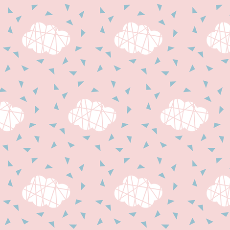 white clouds on pink with blue triangles fabric by pencilmein on Spoonflower - custom fabric